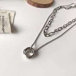 True Glam - Alloy Pendant Layered Necklace