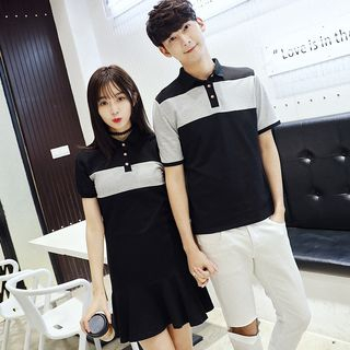 Azure - Couple Matching Color Panel Short Sleeve Polo Shirt / Short Sleeve Polo Shirt Dress