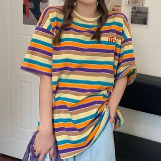 Dute - Elbow-Sleeve Striped T-Shirt