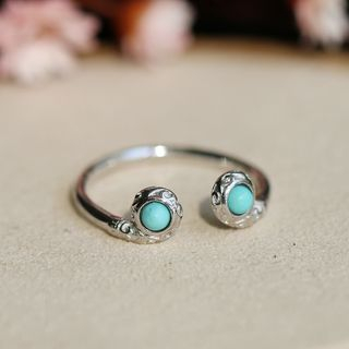 Kanzashi - Turquoise 925 Sterling Silver Open Ring