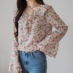 Envy Look - Ruffle-Trim Floral Print Blouse