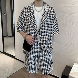 Andrei - 套裝:短袖千鳥格襯衫 + 短褲