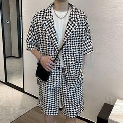 Andrei - Set: Short-Sleeve Houndstooth Shirt + Shorts