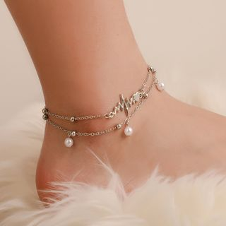 B.muse - Alloy Heartbeat Faux Pearl Layered Anklet