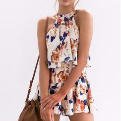 Leandrillo - Halter-Neck Floral Print Wide-Leg Playsuit