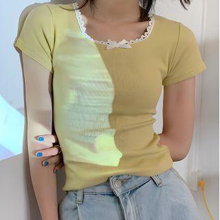 Sosana - 短袖蕾絲邊飾蝴蝶結針織上衣