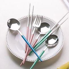 Kawa Simaya - Set: Stainless Steel Chopsticks + Fork + Spoon + Case