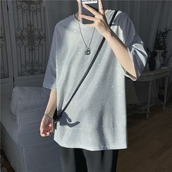 Dukakis - Elbow-Sleeve Glitter T-Shirt