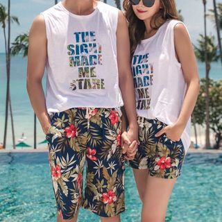 Oceanid - Couple Matching Floral Print Swim Shorts