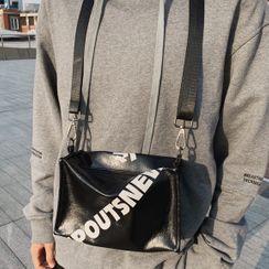 SUNMAN - Faux Leather Lettering Crossbody Bag