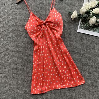 Almilo - Spaghetti Strap Dotted Pajama Dress