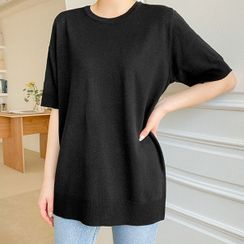 Seoul Fashion - Elbow-Sleeve Boxy Knit Top