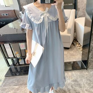 Dreamdazz - Collared Short-Sleeve Pajama Dress
