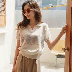 JUSTONE - V-Neck Argyle Knit Polo Shirt