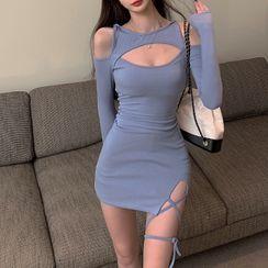 SUGARUS - 鏤空肩捆綁帶迷你塑身連衣裙