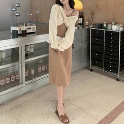 Yako(ヤコ) - Plain Bodycon Suspender Skirt / Off-Shoulder Long-Sleeve Top