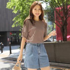 CLICK - Puff-Sleeve Linen Blend T-Shirt