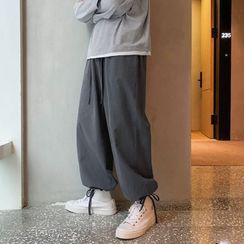 Prep Soul - Plain Drawstring-Cuff Straight-Cut Pants