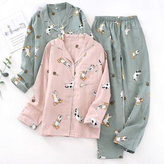 MelMount - 情侣家居服套装: 小猫印花衬衫 + 长裤