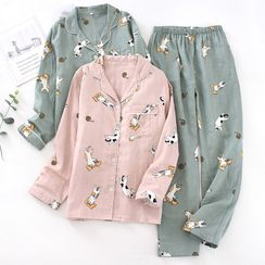 MelMount - Paar passendes Pyjama-Set: Cat Print Shirt + Hose