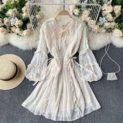 Lucuna - 长袖A字蕾丝连衣裙