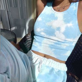 Genrovia - Tie-Dyed Cropped Tank Top