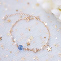 Dashiro - 仿珍珠及饰珠合金星星手链
