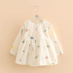 貝殼童裝 - 兒童長袖刺繡A字迷你連衣裙