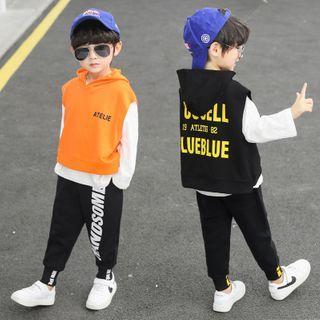 PAM - Kids Set: Long-Sleeve T-Shirt + Hood Vest + Sweatpants