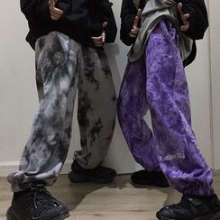 Chisan - Embroidered Letter Tie Dye Harem Pants