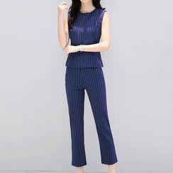 Fashion Street - Set: Striped Tank Top + Striped Cropped Dress Pants