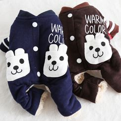 Puppy Love - Animal Print Lettering  Fleece-lined Pet Overall
