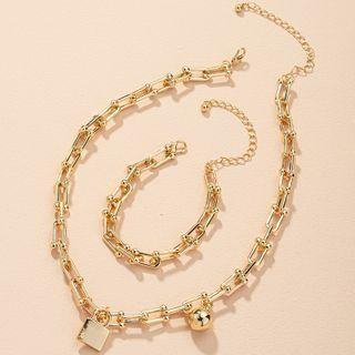 Irenna - Chunky Chain Alloy Necklace / Bracelet / Set