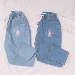 Aquazine - Rabbit Embroidered Harem Jeans