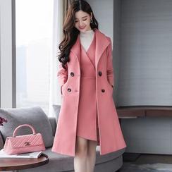 Romantica - 套装: V领背带裙 + 双排扣毛呢大衣