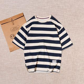 SOYISU - Striped Elbow-Sleeve T-Shirt