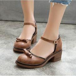 Freesia - 粗跟踝带鞋