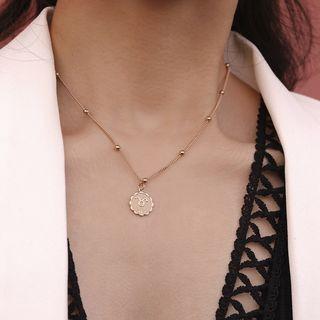 Seirios - Zodiac Embossed Alloy Pendant Necklace