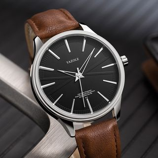 YAZOLE - 无数字仿皮手表