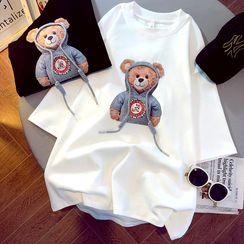 NEUF - 孕婦短袖小熊印花T裇 / 七分內搭褲 / 套裝