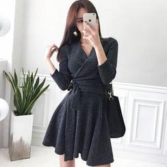 Hasu - Long-Sleeve Tie-Waist Mini A-Line Knit Dress
