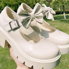STEPUP - Bow Accent Block Heel Mary Jane Shoes