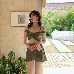 Heyswim - Set: Cold-Shoulder Swim Top + Swim Skirt