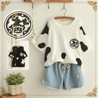 Angel Love - Short-Sleeve Milk Cow Print T-Shirt