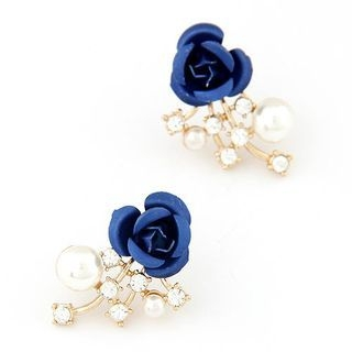 Bling Thing - Flower Accent Rhinestone Earring