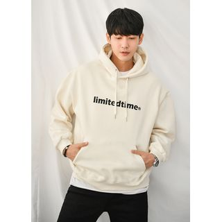 GERIO - Letter-Embroidered Fleece-Lined Hoodie