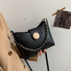 SUMME - Faux Leather Croc Grain Crossbody Bag