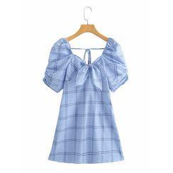 Omelia - Puff-Sleeve Plaid Mini A-Line Dress