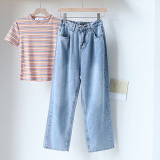 Gretchen - Short-Sleeve Striped T-Shirt / Wide-Leg Jeans