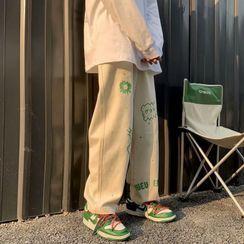 YAVER - Cartoon Print Wide Leg Pants